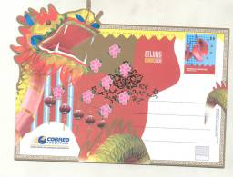 BEIJING CHINA 2008 - REPUBLICA ARGENTINA ENTERO POSTAL DE TIRADA REDUCIDA TBE TRES BON ETAT NUEVO NEW OLYMPICS PEKIN