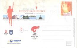 RELEVO DE LA ANTORCHA OLIMPICA BEIJING 2008 BUENOS AIRES ENTERO POSTAL DE TIRADA REDUCIDA REPUBLICA ARGENTINA
