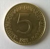 Monnaie -  Yougoslavie - 5 Dinar 1983 - - Yugoslavia