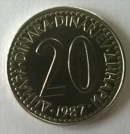 Monnaie -  Yougoslavie - 20 Dinara 1987 - Superbe- - Yougoslavie