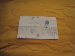 LETTRE ANCIENNE DE 1858. / CHARTREUSE DE N.D. DE MOUGERE PRES PEZENAS A TOULOUSE. / CACHETS DONT ROUJAN + TIMBRE + OBLIT - 1849-1876: Periodo Classico