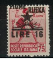 """*B1* - ITALIA Regno 1945 - FIUME - Francobolli 1944-45  Soprast.pa Spostata In Alto """" Fiume""""  - 1 Val. MNH** -  Perfetto"""