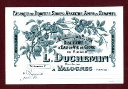 L. Duchemin, Distillateur à Valognes, Superbe Buvard Très Ancien, Fabrique De Liqueurs, Sirops, Absinthe, Amer & Caramel - Licores & Cervezas