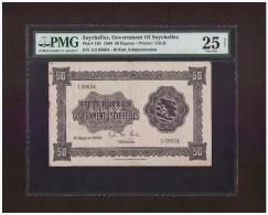BRITISH SEYCHELLES 1960 50 RUPEES QE II PMG GRADED 25 VF EXTREMELY V.RARE BANKNOTE. - Seychelles