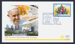 """2015 VATICANO """"PAPA FRANCESCO - VIII INCONTRO MONDIALE DELLE FAMIGLIE"""" FDC RICORDO POSTE VATICANE - FDC"""
