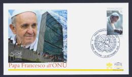 "2015 VATICANO ""PAPA FRANCESCO ALL´ONU"" FDC RICORDO POSTE VATICANE - FDC"