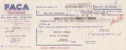 Lettre Change 25/7/1953 FACA  NEUILLY Sur Seine Pour Arbois Jura - Lettres De Change