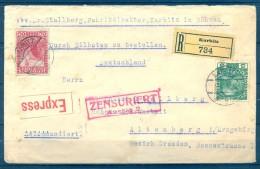 1916 , CERTIFICADO URGENTE CIRCULADO ENTRE KARBITZ Y ALTENBERG , CENSURA , LLEGADA - Briefe U. Dokumente