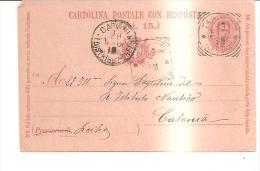 68067) Intero Postale Da 7.5 C. Effige Del Rè -  Risposta 900- Da Taranto-a Catania  Il  18-5-1901 - 1878-00 Umberto I