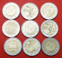 ★9 COMMEMORATIVE COINS: 2 EURO DIFFERENT TYPES! LOW START ★ NO RESERVE! - Munten & Bankbiljetten