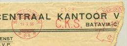 Nederlands Indië - 1936 -  Roodfrankering / Metermark - Machine 64 On Large Piece - CKS Centraal Kantoor Statistiek - Nederlands-Indië