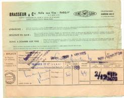 1953--PARIS 5° ---Halle Aux Vins--BRASSEUR & Cie--Facture Transport De Vins Et Son Congé - Food