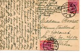 1922 - Allemagne - Obl MAINZ - 2 Timbres Empire N°129  Sur Carte Postale Vue De Mainz - Deutschland