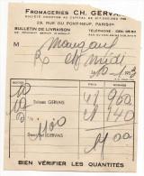 1953--PARIS  1°--Fromageries  CH. GERVAIS--Suisses Gervais--Demi-sel GERVAIS---Facture + Livraison - Food