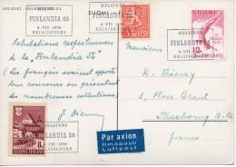 1956 - Finlande - Exposition Philatélique Et Centenaire Du Timbre - Obl  FINLANDIA 56 HELSINGFORS Sur Timbres N°382 + 31 - Finland