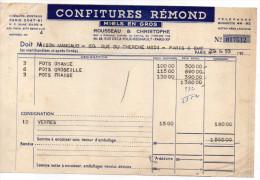1953--PARIS  11°--Confitures REMOND--Miels En Gros---Facture + Livraison - Food