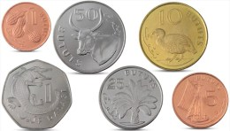 GAMBIA CURRENCY SET 6 COINS 1, 5, 10, 25, 50 BUTUTS, 1 DALASI 1998 2014 UNC - Gambie