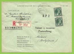 "224 Op Brief ""Admin. Postes /Telegraphes"" Aangetekend VALEURS A RECOUVRER / POSTAUFTRAG Stempel LUXEMBOURG - Covers & Documents"