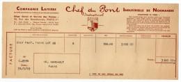 1953-PARIS 1er--Compagnie Laitière CHEF DE PONT (Normandie)-St MARTIN D'AUDOUVILLE--facture - Food