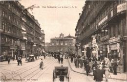 CPA 59 (Nord) Lille - Rue Faidherbe (vers La Gare), Nbx Tramways Et Voitures, Weil Opticien, Hôtel Central, Hilton TBE - Lille
