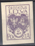 Central Lithuania - 1921 Mi. 3 B - MLH (*) - Mit Falz - Lituanie