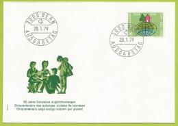 Suisse 1974 947 FDC Auberges De La Jeunesse 50 ème Anniversaire - Childhood & Youth