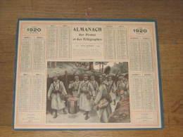 CALENDRIER DES POSTES - PTT - 1920 - POILUS - SALUT AUX CUISTOTS - Meuse (carton + 2 Feuilles)  ) - Groot Formaat: 1901-20