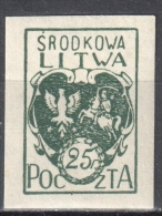 Central Lithuania - 1921 Mi. 20 B - MLH (*) - Mit Falz - Lituanie