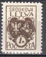 Central Lithuania - 1921 Mi. 21 A - MLH (*) - Mit Falz - Lituanie