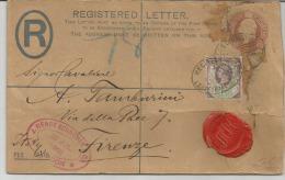 PERFIN BRITAIN - FOR-ITALY, FLORENCE - 01-08-1909--STORIA POSTALE- - 1840-1901 (Regina Victoria)