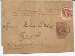 PERFIN GREAT Britain- For-- ZURICH, SWITZERLAND --- ANNULLO, FB-- CLAMP ENTIRE POST,-STORIA POSTALE- - 1840-1901 (Regina Victoria)