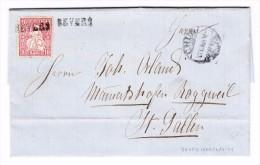 Heimat  GR ENGADIN BEVERS Stabstempel 10Rp. Sitzende 12.10.1869 Chur Brief Nach St Gallen - 1862-1881 Sitzende Helvetia (gezähnt)