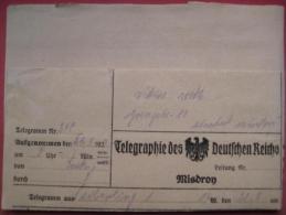 Miedzyzdroje / Misdroy - Telegramm (Telegraphie Des Deutschen Reichs) 1923 Inflation - 1919-1939 Republic