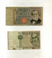 - ITALIE . LOT DE 2 BILLETS TRES ABIMES . - [ 2] 1946-… : Républic