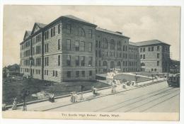 Seattle High School TRAM And Street Life Sent 1907 - Seattle