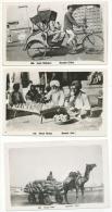 PAKISTAN 3 Real Photos C. 1950? Camel Cart, Street Doctor, Cycle Rickshaw KARACHI - Pakistan