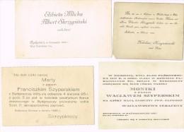 Hochzeitseinladungen-Wedding Invitations-Invitations De Mariage-Pologne-Poland 1893, 1925,1928,1937 - Noces