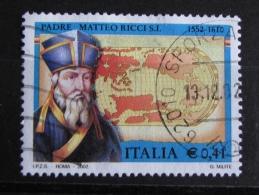 ITALIA USATI 2002 - 450° PADRE MATTEO RICCI - SASSONE 2619 - RIF. G 2131 - LUSSO - 6. 1946-.. Repubblica