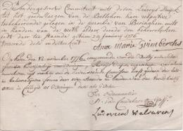 PARCHEMIN - Attestation De Dettes Fait  à Beringhen Par Marie GRIMBERCHS En 1776 - Historical Documents