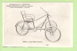 TRICYCLE Pour Mutilé Des Jambes. Ets Tournois, Rue De Bourgogne, Orléans. 2 Scans. Ed. Lenormand - Health