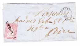 Heimat GR ENGADIN - FULDERA Balkenstempel 15Rp. Strubel 11.8.1861 Zernez Auf Brief Hülle  Nach Chur - 1854-1862 Helvetia (Non-dentelés)