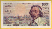 BILLET FRANCAIS - 1000 Francs Richelieu 7.4.1955 SUP+ - 1871-1952 Antichi Franchi Circolanti Nel XX Secolo