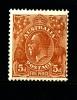 AUSTRALIA - 1930  KGV HEAD  5d  BROWN  SMALL MULTIPLE WMK PERF 13 1/2x12 1/2  MINT VERY LIGHTLY HINGED  SG 103a - 1913-36 George V : Heads