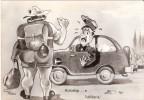 Cartolina Postale Umoristica AUTOSTOP E UTILITARIA - Anni '60 - Postcard - Taxi & Carrozzelle