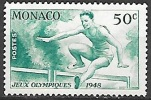 1948 Monoco Olympics 50c Hurdler, Mint Light Hinged - Unused Stamps