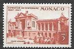 1947 Monoco Oceanographic Museum 3fr Airmail, Mint Light Hinged - Unused Stamps