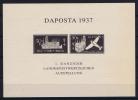Danzig. Daposta Philatelic Exhibition  1937, Probedruck Im Schwartz, Please Read Textblock