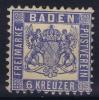 Baden Mi Nr 19 Ab  ,  Dunkel Kobalt  MH/*  Cat Value 2000 Euro