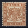 Baden Mi Nr 20  B  , Geldbraun MH/* 1862 - Baden