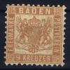 Baden Mi Nr 20  B  , Geldbraun MH/* 1862 Spots